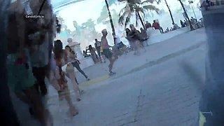Street voyeur follows pretty amateur girls in sexy bikinis