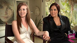 Lovely lesbian bride and her new wife celebrate their union with sex