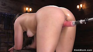 Curved ass hottie takes fucking machine