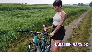 Lara bergmann! bicycle misused by horny milf!