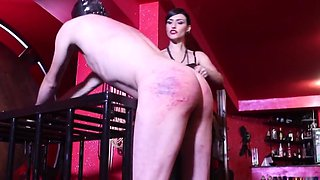 Very hard sadistic whipping by cruel brunette mistress