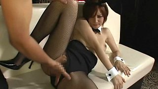 Alluring chick's wet vagina penetrated by skillful men's fingers