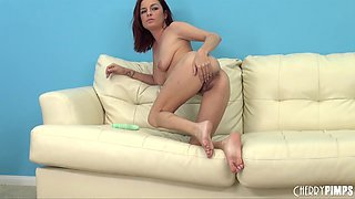 Gorgeous dame with haired twat enjoying dildo insertion