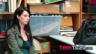 Brunette skinny teen being punished for her misbehavior