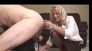 Chastity slave prostate milked while locked up with estim