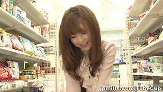 Akiho Yoshizawa rides hard cock gets a wad of cum on her ass