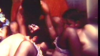 Vintage style orgy with white chicks and their hairy men
