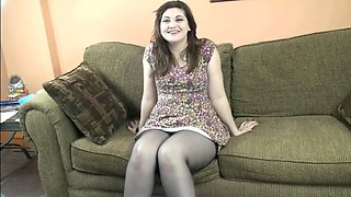 Curvy brunette wife Naomi looks hot in sexy nylons