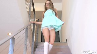Svelte hottie with tight natural tits Kimmy Granger gets her pussy drilled
