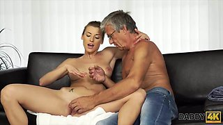 DADDY4K. Passionate sex near the pool with the boyfriend's d