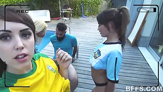 two brazilian and two argentinian female soccer players vs one big cock