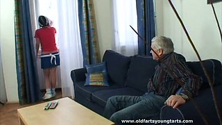Sleepy maid Kristyna gets her pussy tickled on the sofa by old spoiled man