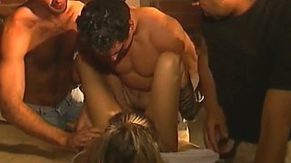 Three horny dudes brutally polish hairy holes of just met blonde hooker