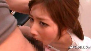 Asian hottie giving BJ on knees gets facial jizzed
