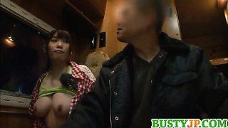Busty Honami Uehara gets nailed in the toilet