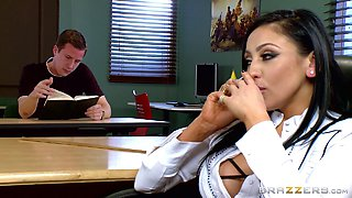 Hot teacher makes detention fun for him as they fuck