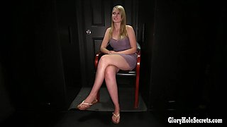 Blonde Hottie sucks off strangers in a gloryhole
