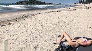 Blonde Teen Flashing Ass And Suck A Huge Cock On The Beach