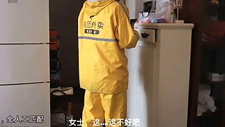 Chinese crazy girl fucks deliveryman