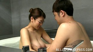 Dirty Asian whore with massive tits enjoying a hardcore doggy style fuck