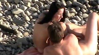 Voyeur on public beach. Cook Jerking and Oral Sex-Stimulation