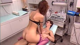 Skanky blonde nurse gets fucked hard doggy style in hardcore retro porn video