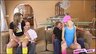 Kim and Alyce get on their knees and sucked on daddy dicks