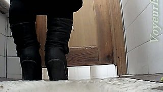 Sweet and juicy round pale skin booty filmed in the toilet room