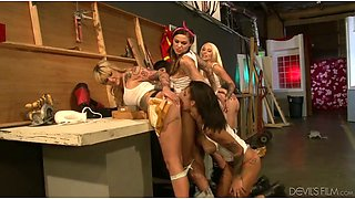 A bunch of sexy lesbians having kinky group sex in the clip