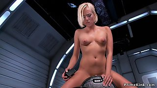 Busty long legged blonde rides machines