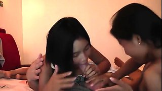 Amateur threesome with an Asian maid