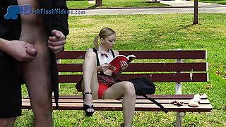 Schoolgirl Dickflash, Upskirt, CFNM Flashing at the Bus Stop