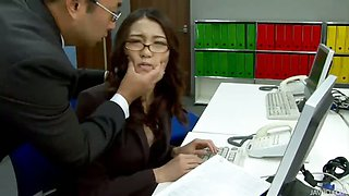 Office babe Ibuki has her shaved pussy teased at work