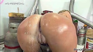 pissing and fisting fun for an oiled blonde