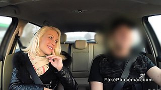 Blonde sucks cops dick in his car