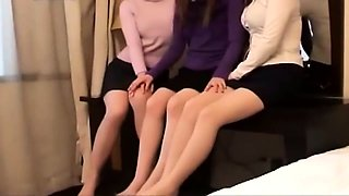 Enticing Asian babes in nylons show off their lovely feet