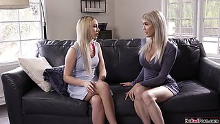 Busty milf and husband share a petite babysitter in a 3some