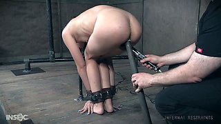 Bondage bitch Eden Sin gets her muff and anus punished in the dark room