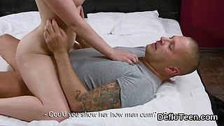 Virgin sweetie rides shaft and gives handjob