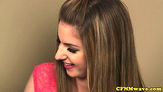 Tugging babe facialized in CFNM foursome