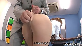 office girl naami hasegawa makes a cup of squirt to her boss