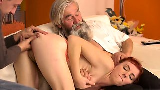 Daddy boss's daughter secret creampie and old women fuck you