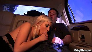 Kinky blonde Britney Beth gives head in the car on cam