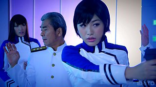 Japanese doll in uniform pleasured using sex machine