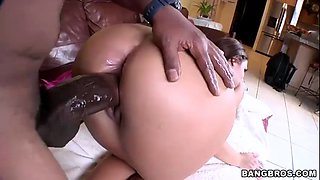 Heavenly brunette drilled with a monster black cock