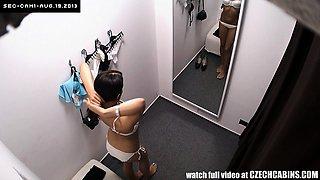 Wonderful Brunette Czech Girl Tryings Bikini in Cabin