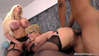 Black student fucks two awesome mature teachers with big boobs