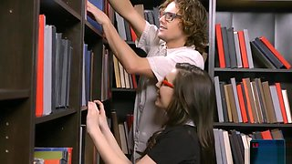 Tiny Nerdy Schoolgirl Fucked In The Library By Another Nerd