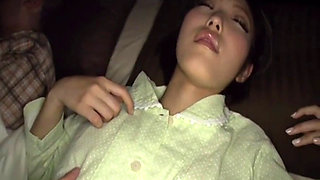 Sleeping Japanese slut gets groped and fucked