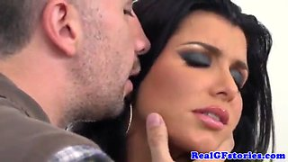 busty blackhaired housewife shows creampie